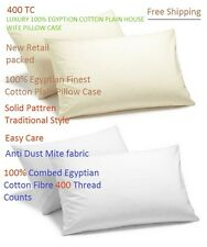 Pair Of housewife PillowCases 100%  Egyptian Cotton Combed 400TC Cream&whiite