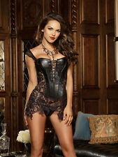 Black Faux Leather And Venice Lace Fully Boned Corset Size 32 to 44