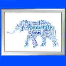 PERSONALISED WORD ART - ELEPHANT FOR HER OR HIM ON BIRTHDAY OR CHRISTMAS
