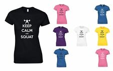 Keep Calm and Squat , Ladies Printed T-Shirt