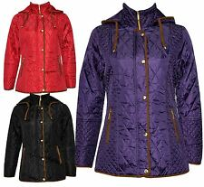 New Womens Plus Size Padded Quilted Hooded Winter Jackets 10-26
