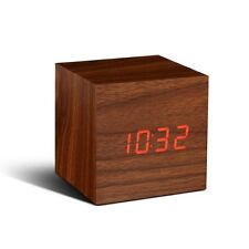 Gingko Cube Click Clock | Gift Alarm - LED Display Wood - Sound Activated! NEW