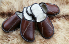 Brown size 6 7 8 9 10 11 Mens Natural Leather Slippers Wool Luxury Gift Present