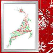 CHRISTMAS REINDEER WORD ART - A FANTASTIC & UNIQUE DECORATION - PERSONALISED