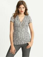 NWT BANANA REPUBLIC Grey Ribbon Trim Fitted Lace Empire Waist Top Tunic Blouse