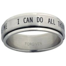 I Can Do All Things Stainless Steel Spinner Ring, Philippians 4:13 - Sizes 6-13