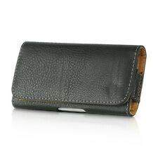 for HTC PHONES - HORIZONTAL BLACK Leather Pouch Holder Belt Clip Holster Case