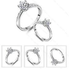18K White Gold Filled Crystal Promise Wedding Engagement Ring Jewelry Silver