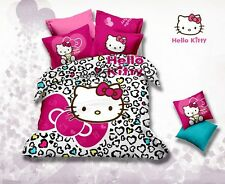 * Colorful Hearts Hello Kitty Queen Bed Quilt Cover Set - Flat or Fitted Sheet *