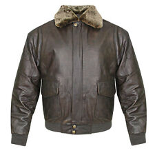 USA Leather Mens Vintage Aviator Brown Genuine Leather Bomber Jacket (S-5XL)