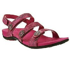 Ladies VIONIC w/Orthaheel Technology CATHY Raspberry Triple Strap-WIDE-PREOWNED!