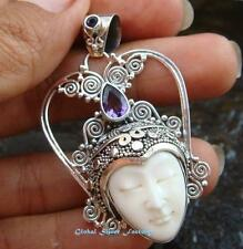 Silver Amethyst Crown Goddess Pendant GDP-1042-PS