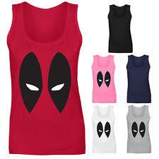 Womens Deadpool Marvel DC Comics Eyes Vest Tank Top NEW UK 8-18