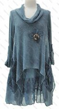 Ladies Italian Lagenlook Long Sleeve Mohair Knit Cowl Button Dress One Size Plus