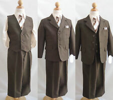 Boy dark brown /taupe toddler teen youth wedding graduation party formal suit