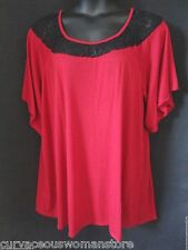 NEW Ruby Red Black Semi Sheer Laced Neckline Tunic Top 4X 5X 6X Yummy PLUS Sexy