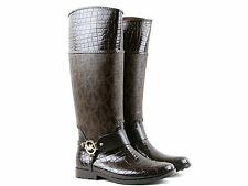Michael Kors Brown Croc / Logo Tall Rain Boots Brand New With Box