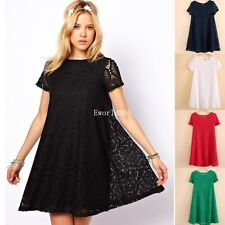 New Sexy Women Womens Casual Short Sleeve Lace Loose Party Mini Tops Dress