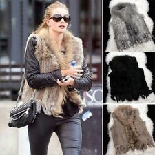 New Women Casual Knitted Real Rabbit Fur Vest Winter Fashion Top Gilet Waistcoat