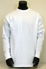 Men's Big Size Heavy Weight Plain Cotton Long Sleeve T-shirt White Size XL - 4XL