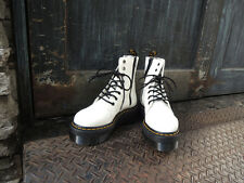 BNIB DR MARTENS JADON SMOOTH LEATHER PLATFORM BOOT 8-EYE IN WHITE AND RED CHERRY
