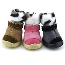 Hot Pet Small Dog Cat Furry Snow Boots Leopard Anti-slip Cotton Sporty Shoes F69