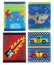 NEW Kids Boys Tri Fold Wallet Nylon SHARK - GUITAR - RACECAR - MONSTER Money