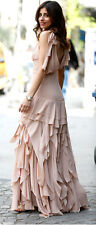 H&M Conscious Exclusive Collection Powder Pink Frilled Chiffon Dress 8 10 12 14