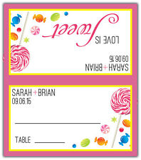 Food - Personalized Tented Custom Place/Escort Cards - Wedding/Shower/Birthday