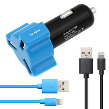 3-Port USB Car Charger Adapter 4.8A+8-Pin Lightning Cable For iPhone i Pad iPod