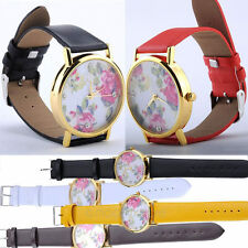 2014 New Faux Leather Geneva Rose Flower Watch Wristwatches for Women Xmas Gift