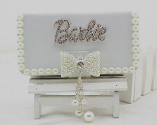 Fashion Pearl bow Diamond Barbie PU leather flip wallet Case For Apple iPhone