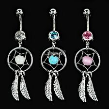 Fashion Crystal Gem Dream Catcher Dangle Belly Navel Barbell Button Bar Ring