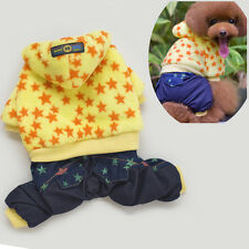 Winter Warm Yellow Flannel Star Clothing Denim Pant For Pets Puppy Dogs and Cats