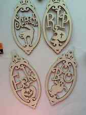 "8""x4"" Halloween Unfinished Wood Tag Shape Craft Laser Cut Outs DIY 4 designs"
