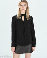 £26 Authentic ZARA Shop Black Blouse Shirt Tee Top With front Slit XS S M L XL