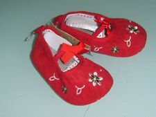 BABY GIRLS PRE WALKER SOFT SOLE SHOES RED CORDUROY WITH FLOWERS