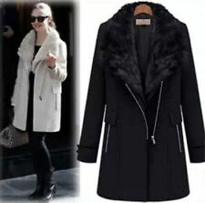 New female warm winter long jacket outwear thick cony fur collar wool coat parka
