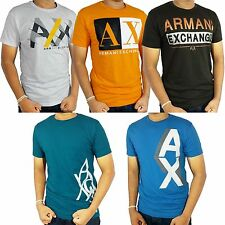 Armani Exchange AX White, Yellow/Orange, Brown, Blue Crew Neck Tee shirt NWT