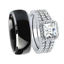 4 Pcs Hers 925 CZ Sterling Silver His Black Tungsten Wedding Rings Bridal Set