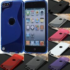 Apple iPod Touch 5 5th Gen Black TPU S Shape Soft Case Cover + Protector