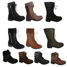 New Womens Military Boots motorcycle Heel Combat booties lace Up Mid Calf Shoes