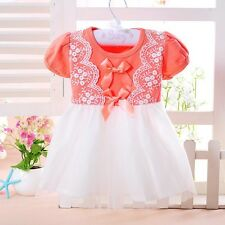 New Infant Baby Girls Pagiant Party Princess Party Lace Chiffon Dress WIth Bows