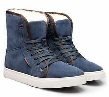 Mens snow ankle boots suede casual winter warm fur lined sneaker shoes plus size