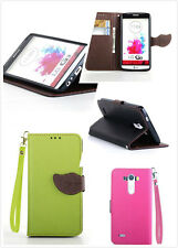 Leaf magnetic Stand Card holder Flip leather case cover for LG G2 G3 L70 Phone