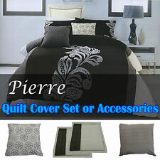 Pierre Black Grey Quilt Cover Set - QUEEN KING Eurocases Cushion