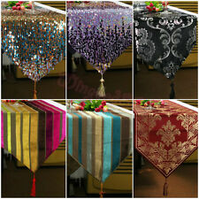 Elegant Table Runner Cloth Embroidered Sequins Damask Striped Tassel Decorative