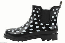 New Women's Fashion Short Ankle Black Polka Dots Rubber Rain Boots