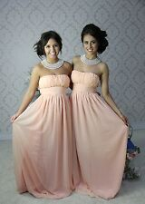 LIGHT PINK LONG CHIFFON PARTY EVENING FORMAL BRIDESMAID DRESS PROM GOWN LOT 603