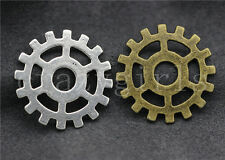 15pcs Antique Silver/Bronze Lovely Filigree Gear Charms Pendant 25mm Free ship
